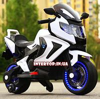 Детский электро-мотоцикл BMW на аккумуляторе Bambi для детей 3-8 лет на мягких колесах М 3681 белый