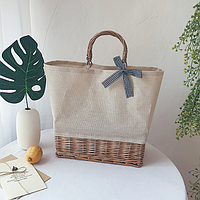 Плетеная сумка из ротанга прямоугольная  светлая, фото 1