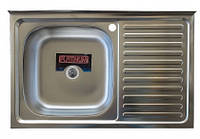 Накладная кухонная мойка Platinum 80*50 (cм) в покрытии polish ( полировка ), с толщиной 0,4(мм)