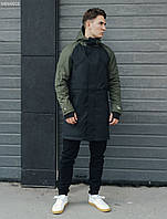 Мужская куртка парка осенняя черная-хаки STF mark black and haki удлиненная молодежная демисезонная