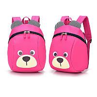 Рюкзак детский маленький, мишка. Розовый с поводком.