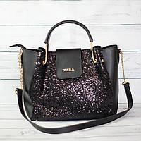 Женскаяmini сумка Zara, Зара, черная с блестками