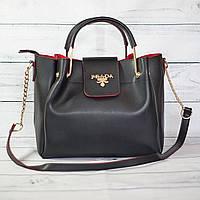 Женскаяmini сумка Prada (Прада), черная с красным