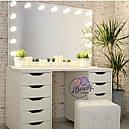 Стол для визажиста, гримерный стол для макияжа, с лампами по периметру зеркала., фото 2