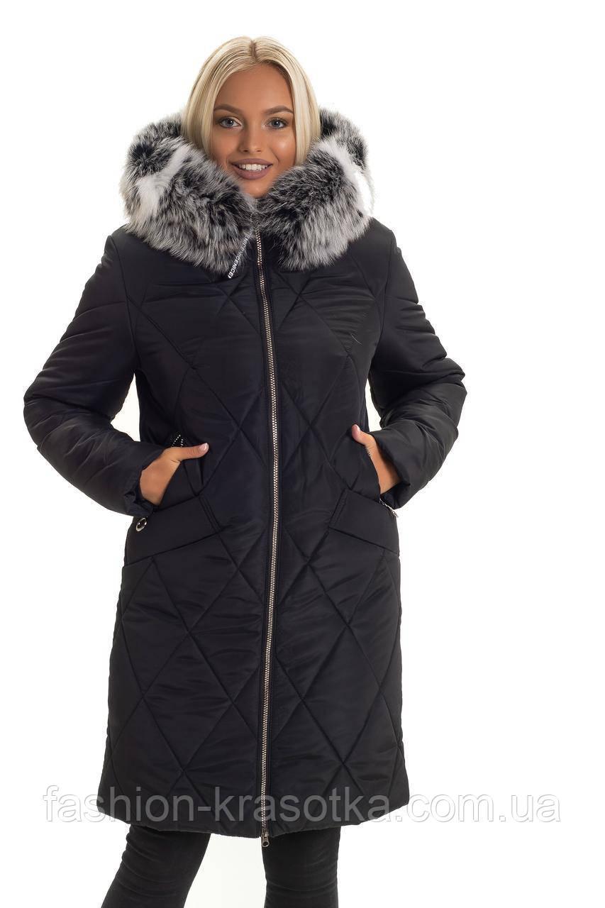 Зимний женский пуховик ,мех песец, хвостовая часть,размеры:44-56.