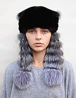 Норковая шапка женская Ушанка с чернобуркой, фото 1