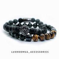 Мужские браслеты из натуральных камней (комплект), каменные браслеты, чоловічі браслети