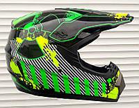 Кроссовый мото шлем чёрны зелёная полоса Virtue размер S, M
