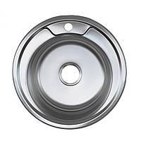 Мойка круглая для кухни врезная нержавейка Platinum D4949 толщина 0,8 мм Сатин (матовая)
