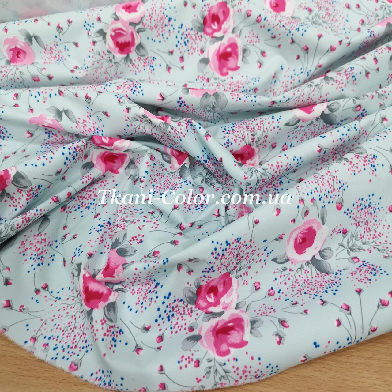 Плащевая ткань канада принт цветочки на голубом