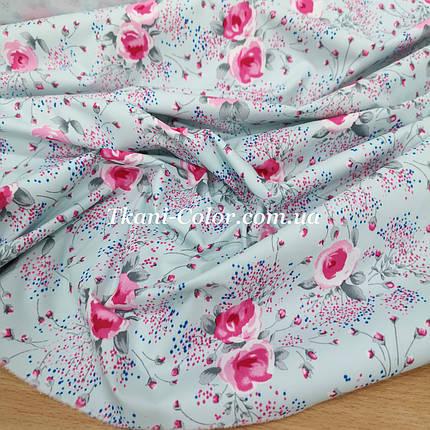 Плащевая ткань канада принт цветочки на голубом, фото 2