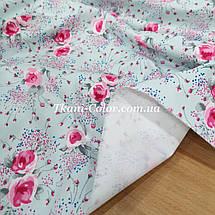 Плащевая ткань канада принт цветочки на голубом, фото 3