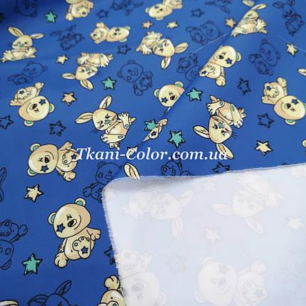 Плащевая ткань канада принт мишки на синем, фото 2