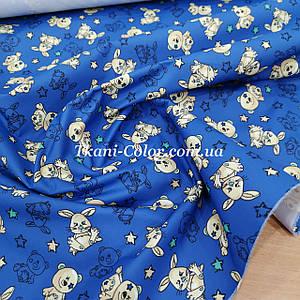 Плащевая ткань канада принт мишки на синем