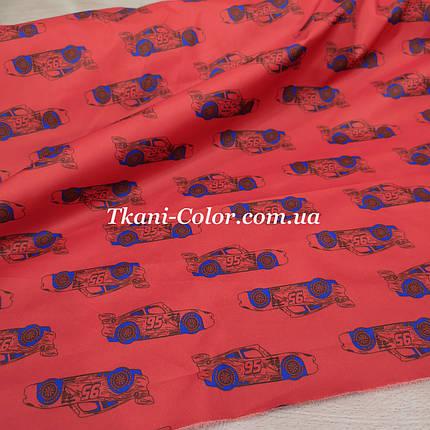 Плащевая ткань канада принт машинки на красном, фото 2
