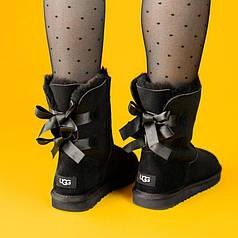 Угги женские UGG Australia Bailey Bow II Black (люкс копия)