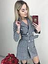 Платье-пиджак в клетку с широким поясом, фото 2