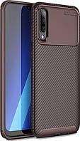 Чехол TOTO Чехол-накладка TOTO TPU Carbon Fiber 1,5mm Case Samsung Galaxy A70 Coffee SKU_F_95687