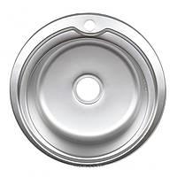 Мойка круглая для кухни врезная нержавейка Platinum D5151 толщина 0,8 мм Сатин (матовая)