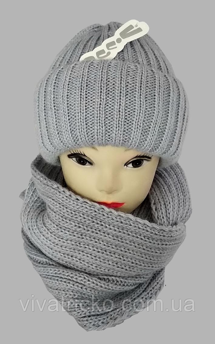 М 5003 Комплект шапка подвійна і хомут , різні кольори