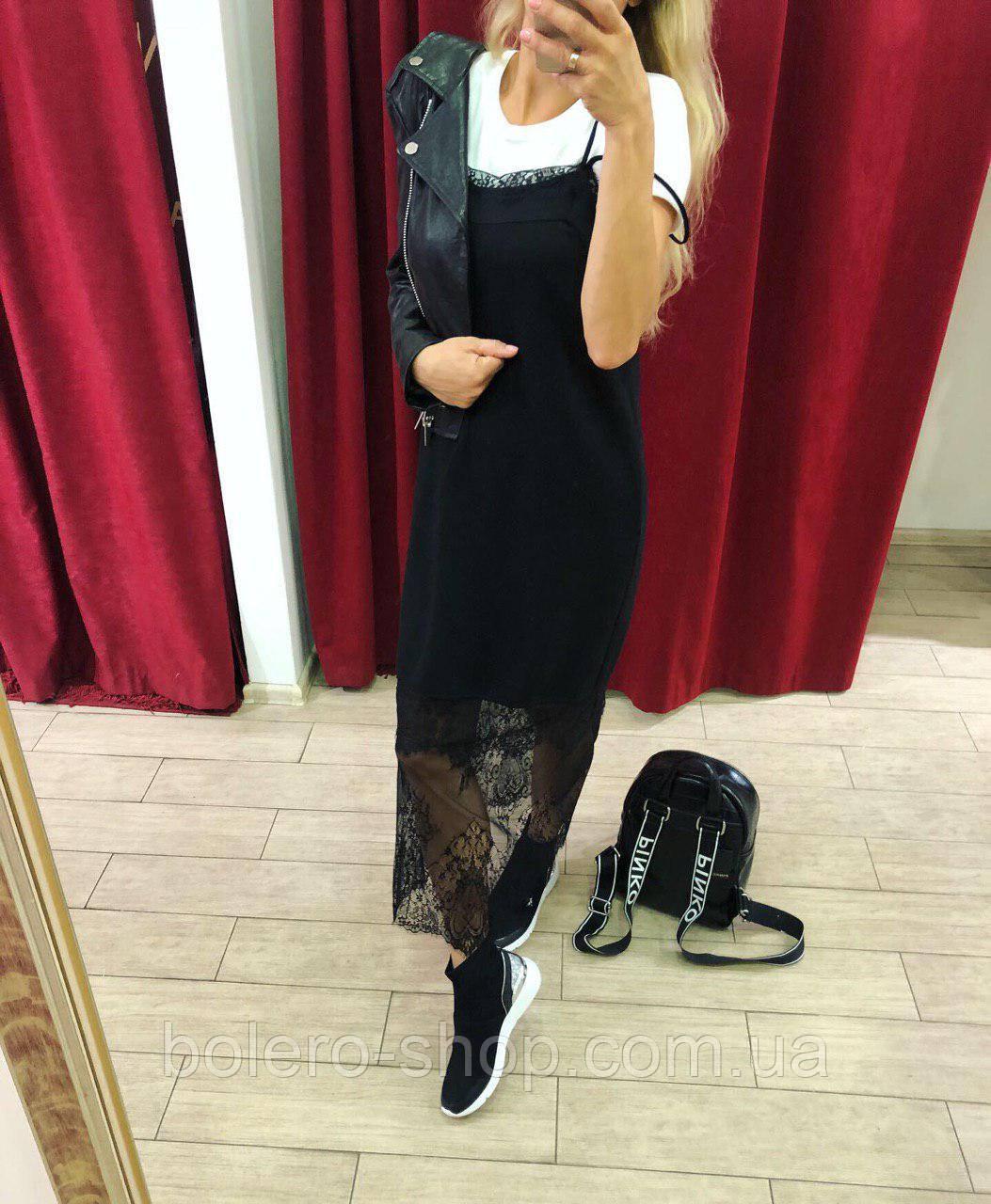 Платье черное с ажурной вставкой