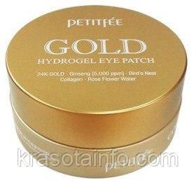 Гидрогелевые патчи под глаза Petitfee Gold Hydrogel Eye Patch 5+ с золотым комплексом, Корея, 60 шт