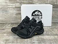 Мужские зимние кожаные ботинки IceField (зима утепленные шерстю, натуральная кожа , черные с серым)