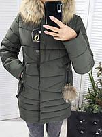 Пуховик зимний с мехом енота