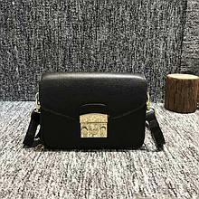 Небольшая сумка в стиле Фурла с ремешком / натуральная кожа #927-S Черный