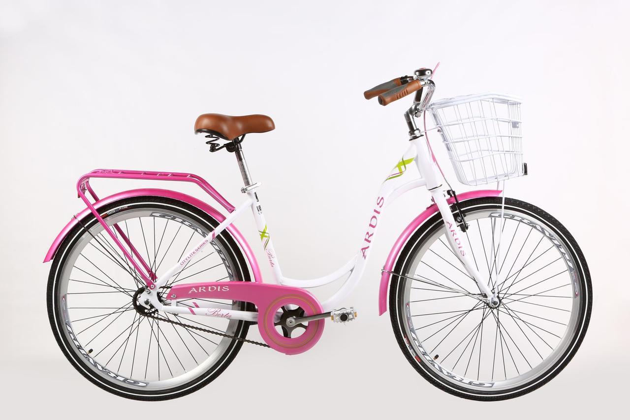 """Дамський Велосипед Ardis Berta 26"""" 17"""" Білий / Міський / з кошиком"""