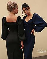 Платье футляр женское стильное с пышными рукавами разные цвета 2Smmil3773