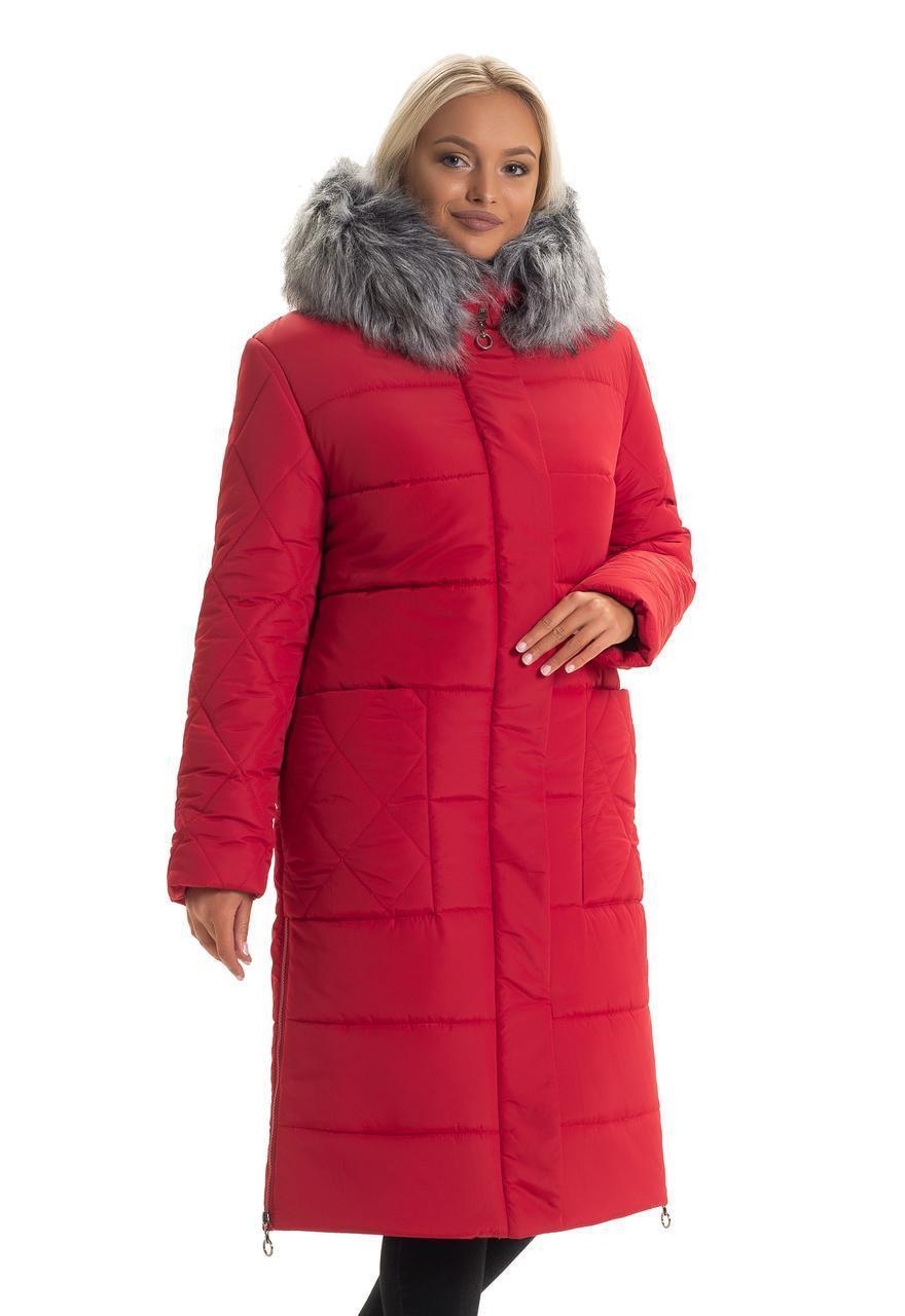 Женский длинный зимний пуховик / пальто с мехом красный большихразмеров батал размер 48 50 52 54 56 58