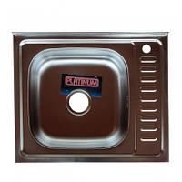 Накладная кухонная мойка Platinum 60*50 (cм) в покрытии satin (матовая), с толщиной 0,7 (мм) Левая, фото 1