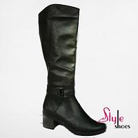 Жіночі шкіряні чоботи зимові, фото 1