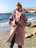 Женское пальто букле барашек оверсайз на пуговицах свободного кроя 42-46 и 48-52