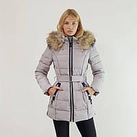 Пуховик женский длинный Snowimage с капюшоном и натуральным мехом серый, распродажа 48