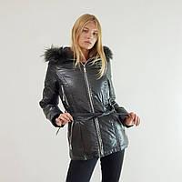 Пуховик-куртка зимний женский Snowimage с капюшоном и натуральным мехом серый 42