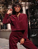 Костюм женский стильный вельвет свободная кофта и широкие ровные брюки 2Dmil1930