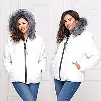 Женская зимняя куртка Плащевка на синтепоне и искусственной овчине Размер 48 50 52 54 В наличии 5 цветов, фото 1