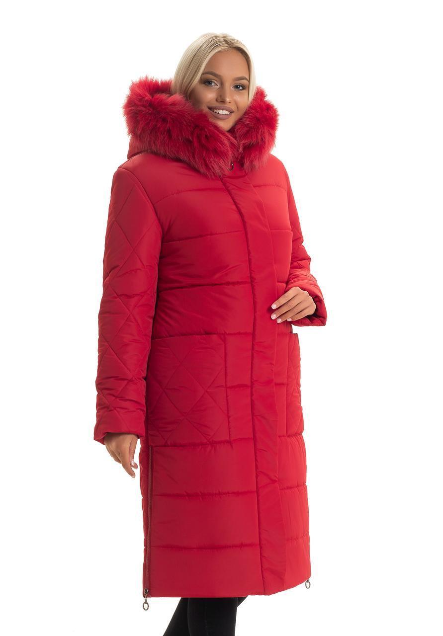 Женский длинный зимний пуховик / пальто с мехом песец красный большихразмеров батал размер 48 50 52 54 56 58
