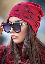 Флисовая шапка из ангоры с бусинами и камнями разных цветов, фото 3
