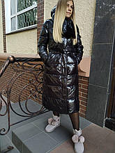 Пуховик-пальто CLASNA 129 черный лак