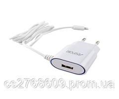 """Мережевий зарядний пристрій """"Aspor"""" A802 iphone 5/6 (1USB/1A) з кабелем LED (white)"""