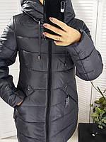 Зимняя куртка с капюшоном  цвета графит, фото 1