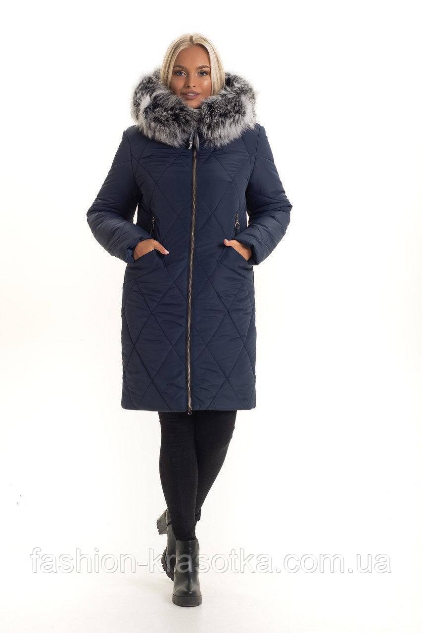 Шикарный женский зимний пуховик,мех песец, хвостовая часть,размеры:44-56.