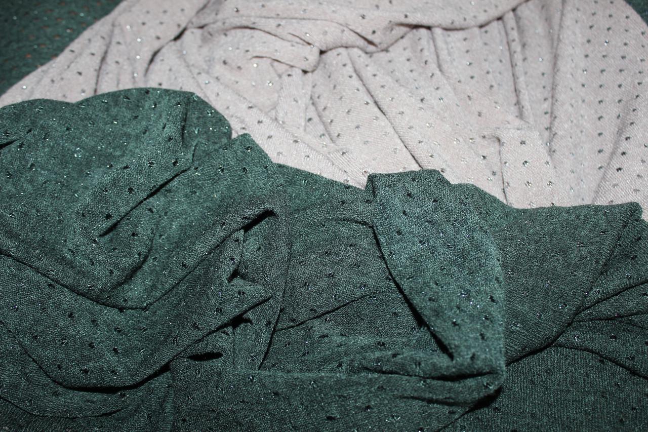 Зеленый темный (оттенок Хаки). Ангора тонкая, люрексовая нить, дырочки, фото 1