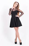 Платье нарядное с длинным рукавом из сетки в горох,красивым вырезом на груди,расклешенной юбкой по колено,чёрн