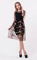 Платье нарядное с верхним пышным платьем из сетки с вышивкой,миди,Santali