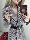 Платье-пиджак в мелкую клетку с поясом, фото 2