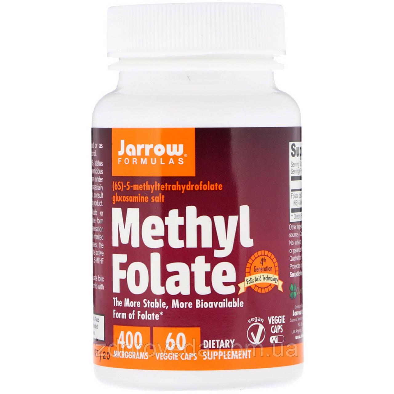 Метилфолат, 400 мкг, 60 капсул, Jarrow Formulas, США (лучшая форма фолиевой кислоты)